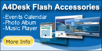 website design templates: Flash Photo Gallery, Events Calendar and Music Player
