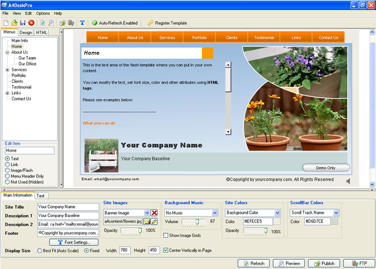 Click to view A4DeskPro Flash Website Builder 6.70 screenshot